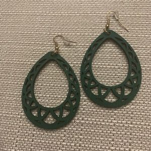 Green wooden drop earrings